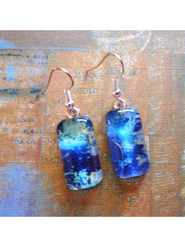Blue Abstract Earrings Glass Art Print Rectangular Dangle Wearable Art