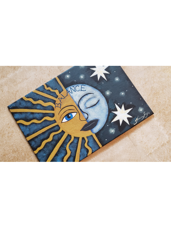 Sun and Moon Painting on Canvas Panel 5x7