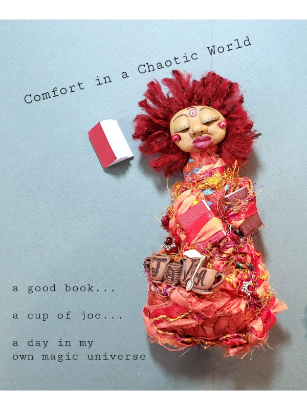 Comfort in a Chaotic World - OOAK Miniature Spirit Doll - Book and a Cup of Joe