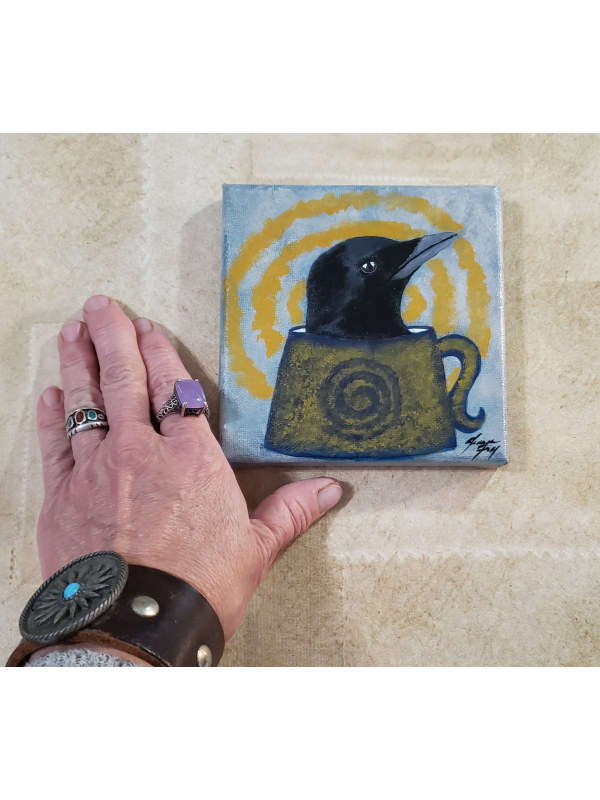 Drink a Cup of Positivity - Crow in my Coffee - Original Painting 5x5