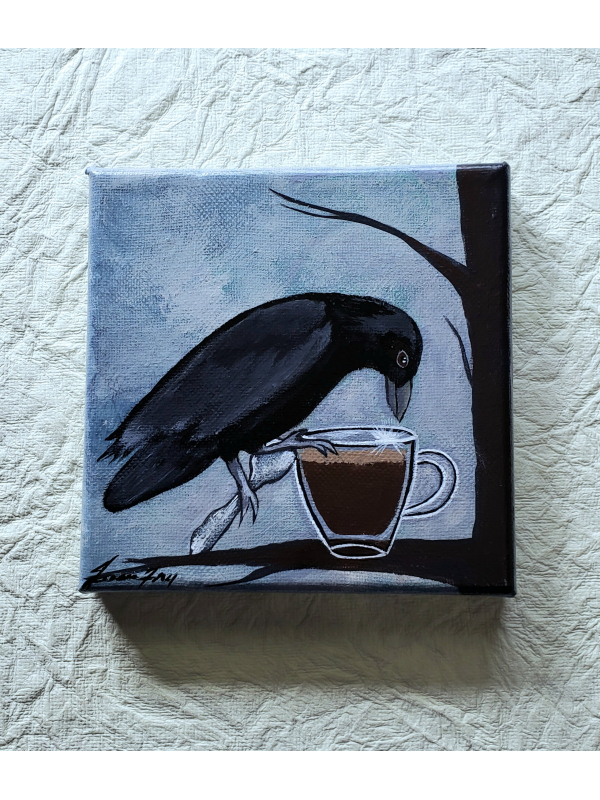 Coffee to Go - Crow and his Espresso - Original Painting on Canvas 5x5