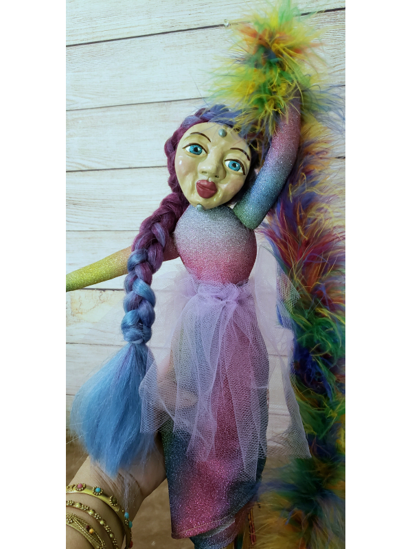 Mother Pride - OOAK Spirit Doll - with Feather Boa