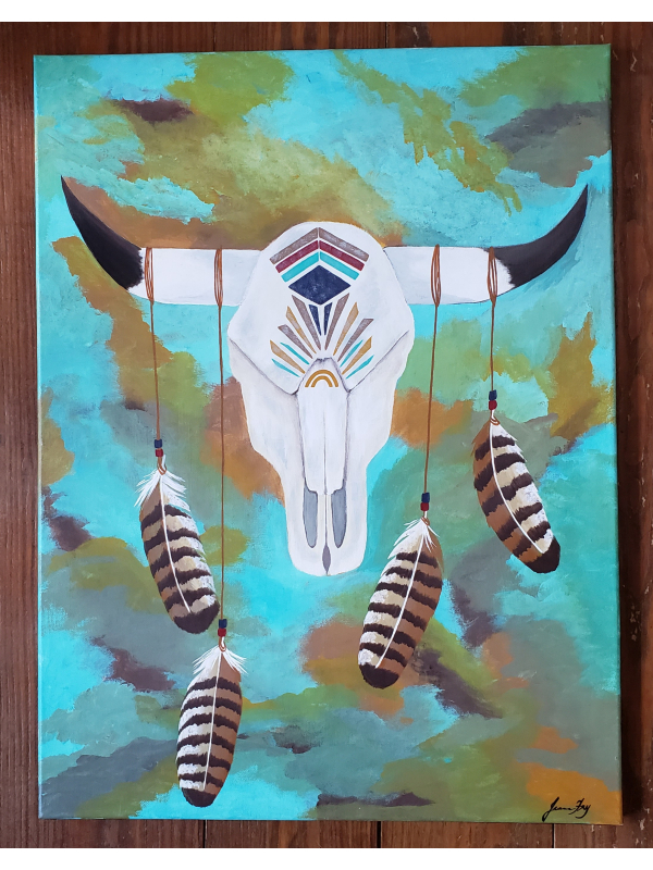 Original Painting of Cow Skull with Feathers - on Canvas 18x24