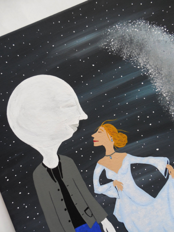 The Goodnight Kiss Sun and Moon Contemporary Folk Art Painting by Jeanne Fry