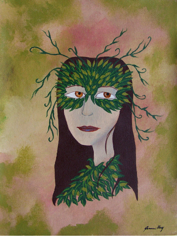 Greenwoman with Leaf Mask Original Painting on Canvas Paper 9x12 by Jeanne Fry