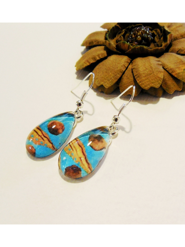 Blue and Yellow Glass Teardrop Dangle Earrings Art Print Jewelry Wearable Art