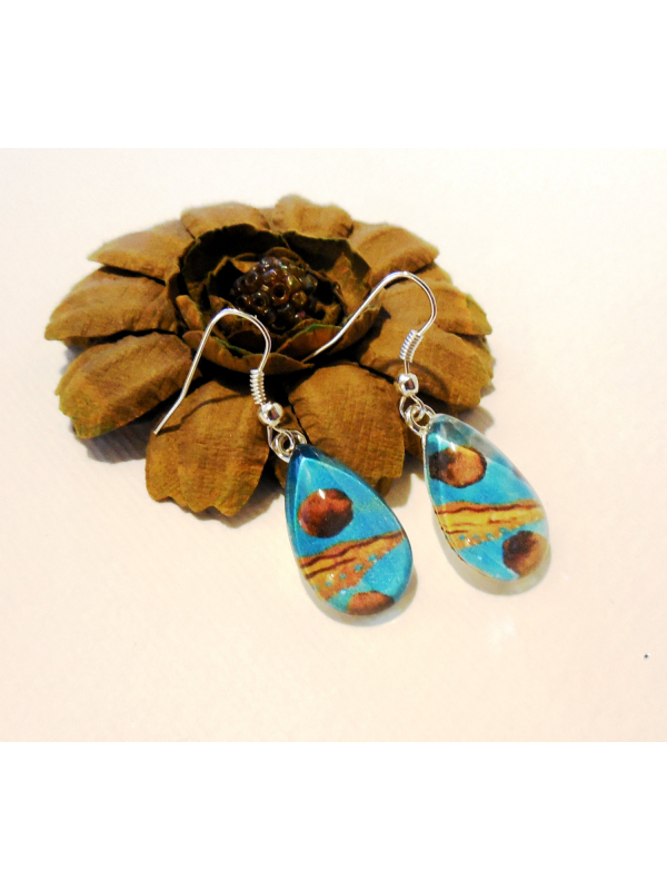 Happy Blue and Yellow Glass Teardrop Dangle Earrings Art Print Jewelry Wearable