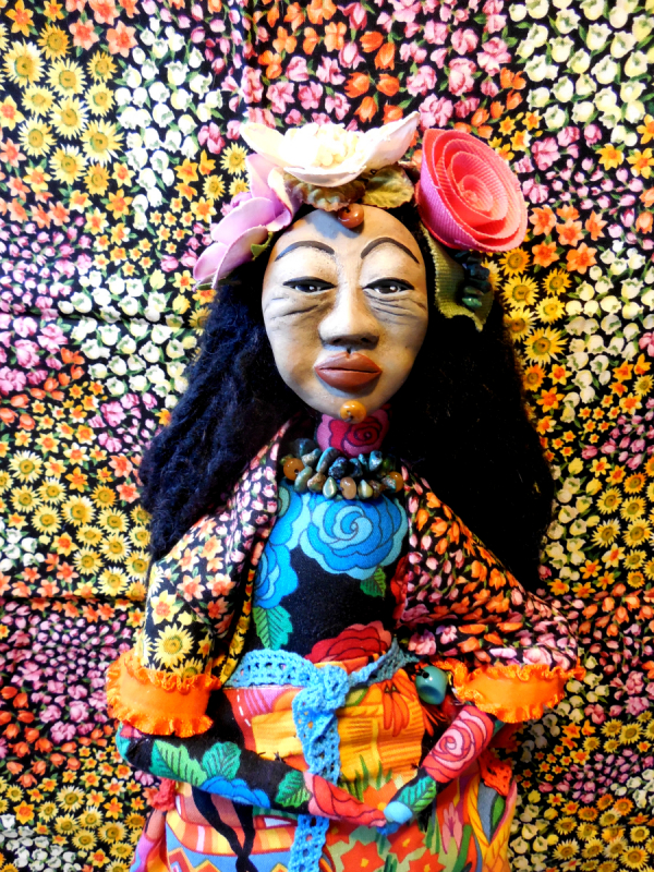 OOAK Folk Art Doll Mexican Woman going to Marketplace Original Cloth and Clay