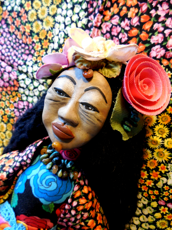 Mexican Woman Cloth and Clay Folk Art Doll with Flower Headpiece Wall Hanger Art