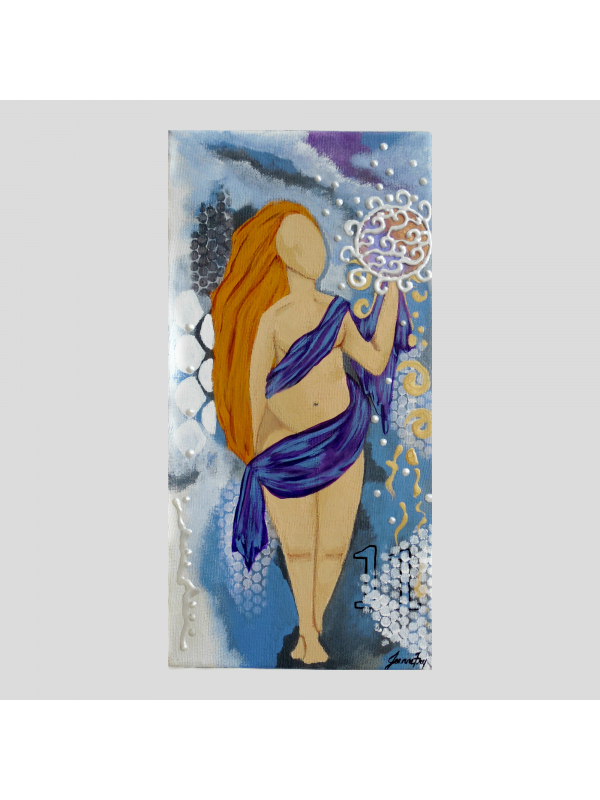 The Abundant Goddess Original Painting 7x14 Goddess Art with Affirmations