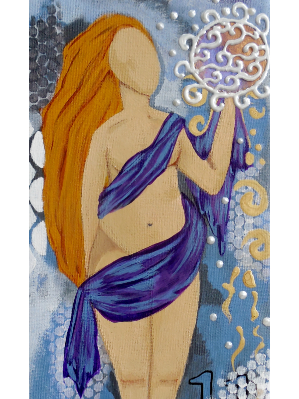 Close View of detail of The Abundant Goddess Original Painting
