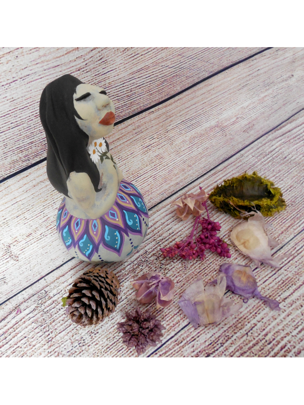 Original Gourd and Clay Sculpted Spirit Doll titled Kindness Number 1 in Series