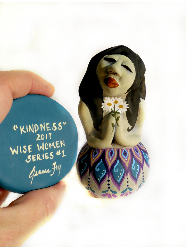 Original Gourd and Clay Sculpted Art Doll titled Kindness Woman with Daisies