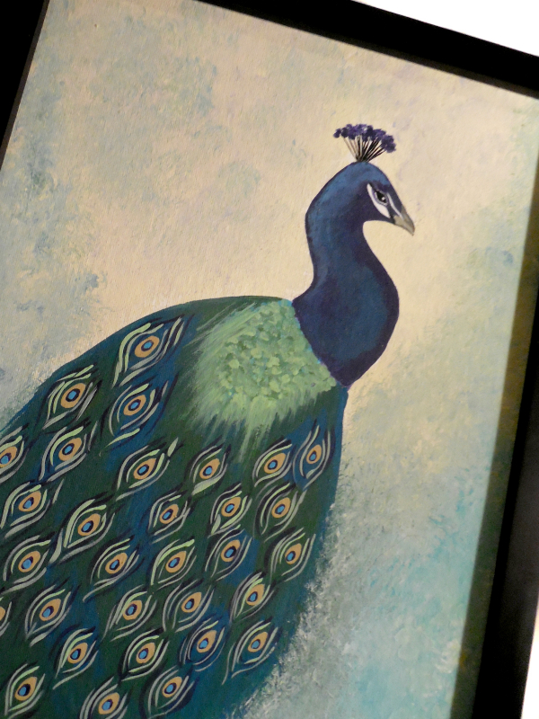 Pretty Peacock Original Painting on Canvas Panel Framed 11x14