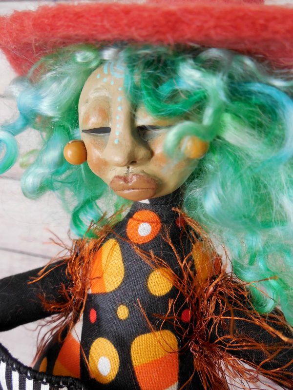 OOAK Witch Folk Art Doll - Edy from the Candy Corn Coven