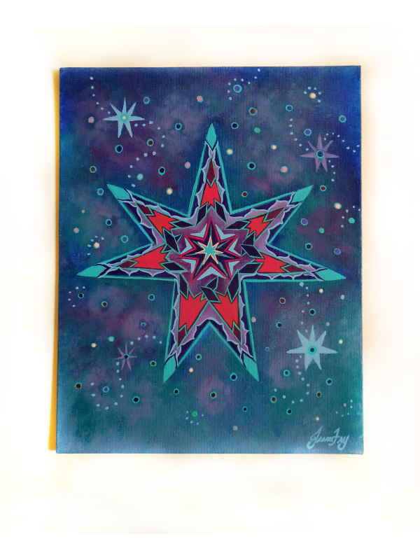 Fairy Star Original Painting on Flat Canvas Panel 11x14 by Jeanne Fry