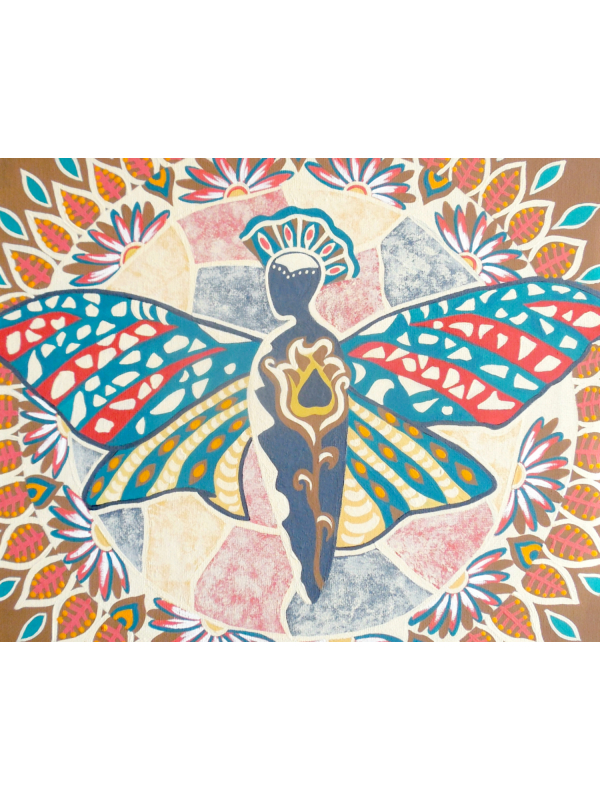 Detailed View of Butterfly Mandala Painting in Mushroom Tones and Coral Shades