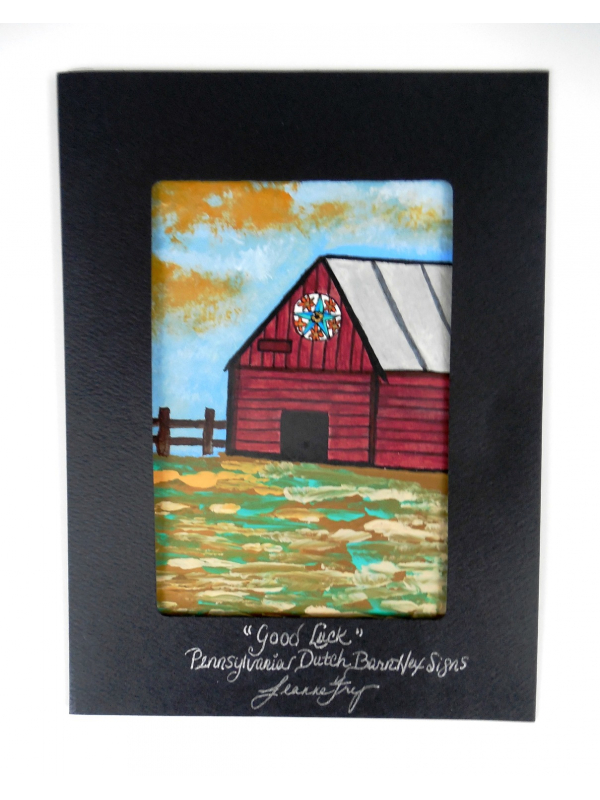 Original Painted Red Barn Landscape Greeting Card with Good Luck Star Sign 5x7