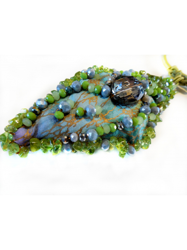 Chartreuse and Smokey Grey Beaded Pendant Necklace OOAK Wearable Art