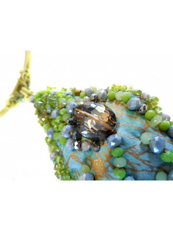 Beaded Pendant Necklace with Chartreuse and Smokey Quartz Beads
