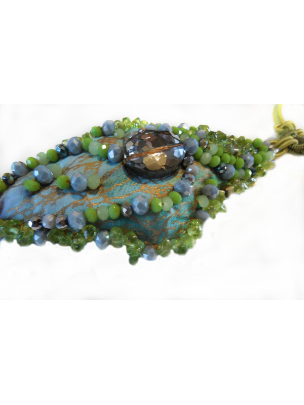 Chartreuse Smokey Quartz Beaded Pendant Necklace OOAK Wearable Art