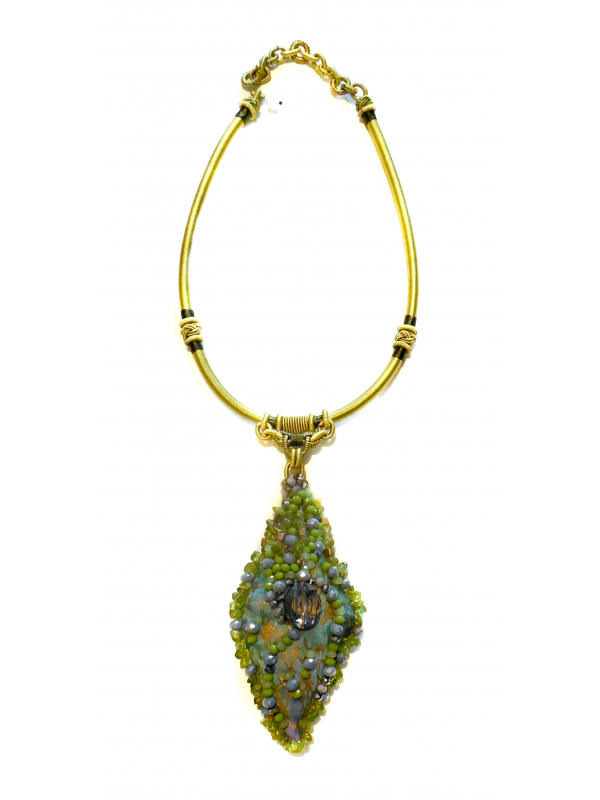 Wearable Art Chartreuse and Smokey Grey Beaded Pendant Necklace