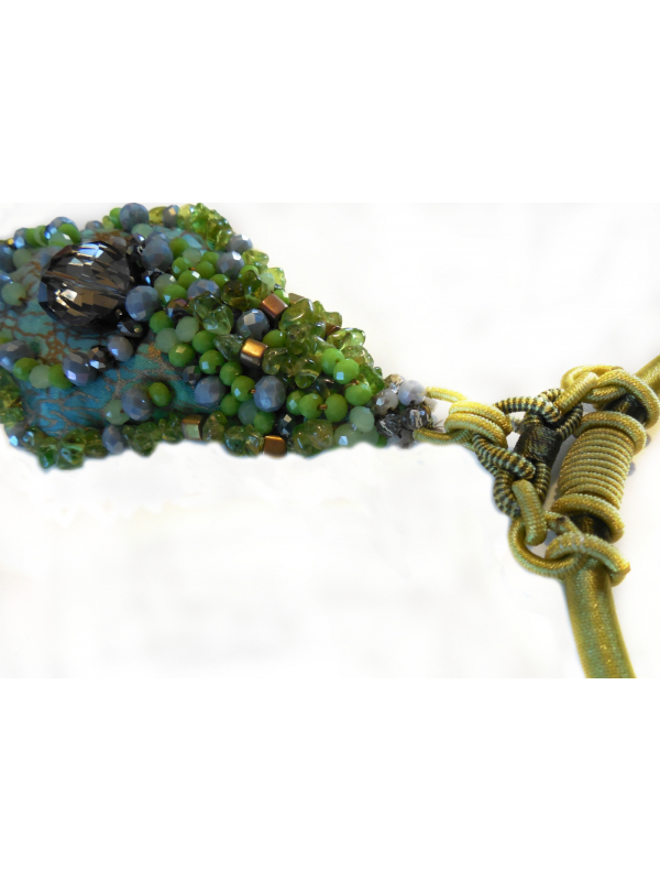 OOAK Wearable Art Collectible Jewelry Chartreuse Beaded Pendant Necklace