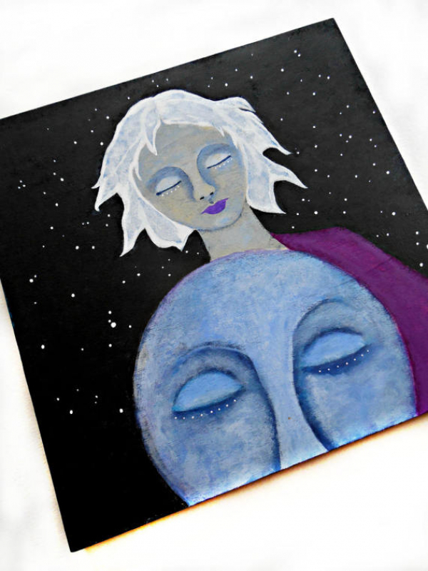 Face of Moon and White Haired Woman Original Painting on Wood 10x10 Celestial Ar