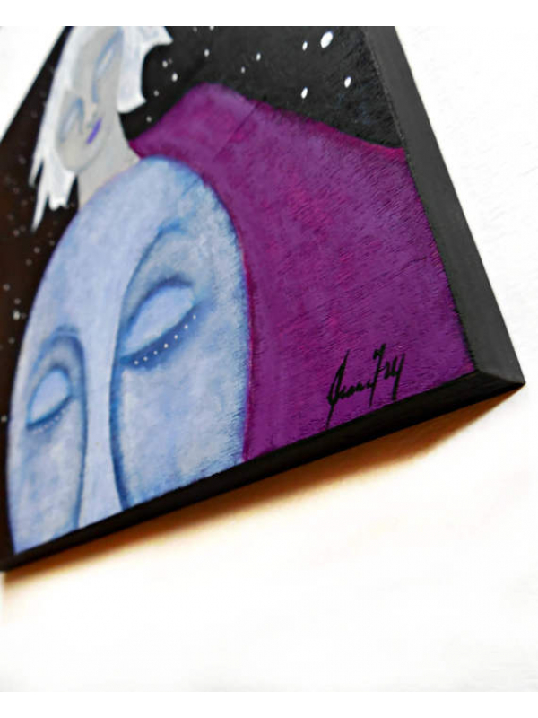Face of the Moon and White Haired Woman Original Painting on Wood 10x10