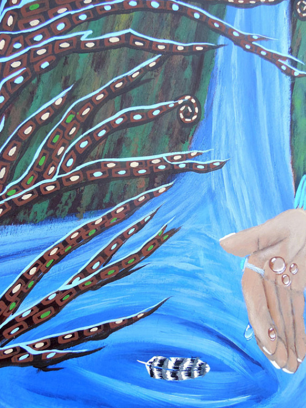 Close Section of Water is Life Original Painting on Wood 12x24
