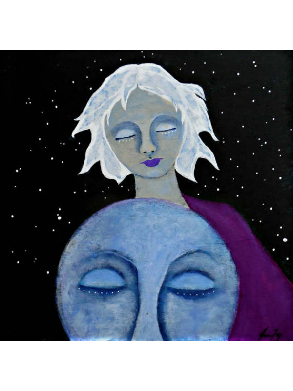 White Haired Woman and Face of the Moon Original Painting 10x10 Celestial Art