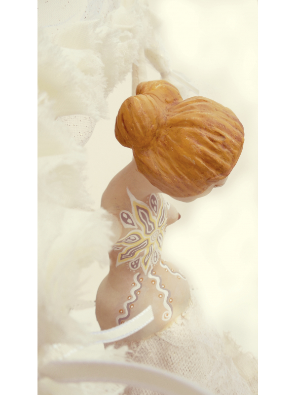 Breast Cancer Survivor Art Doll Figurative Sculpture with Mastectomy Tattoo
