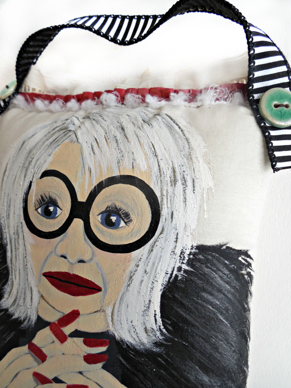 Original Painted Iris Apfel Decorative Pillow
