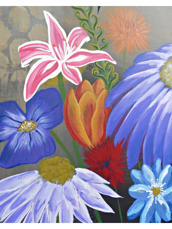 Painted Flowers in the Metamorphosis of a Woman Folk Art Painting by Jeanne Fry