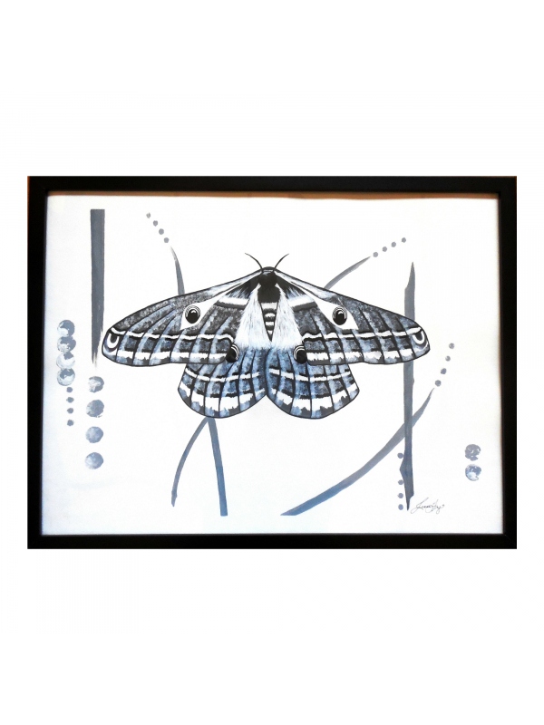 Black and White Emperor Moth Framed Painting Contemporary Modern Wall Art 18x24