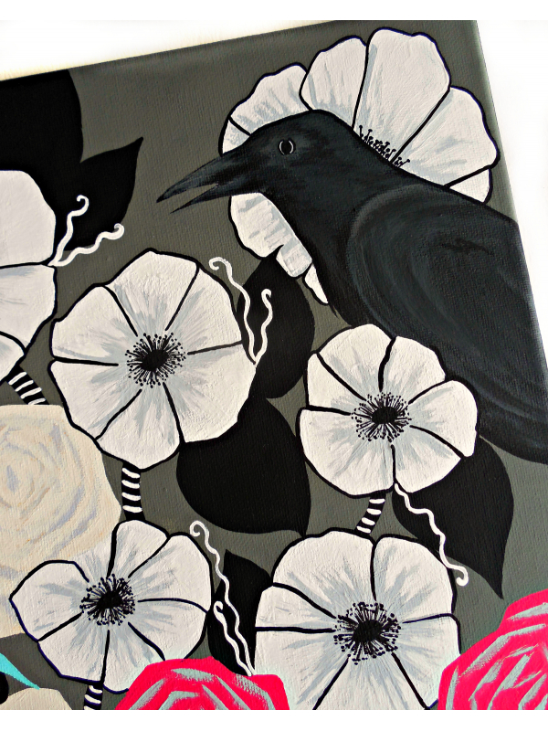 Close View of Crow Art Original Painting with Flower Garden 12x12 Canvas