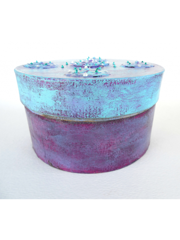 Periwinkle Blue and Purple Prayer Box Textured Paper Mache Round Box Blank