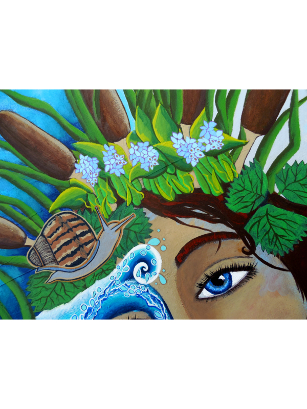 Goddess of Water with Headdress of Cattails Original Painting The Riverkeeper