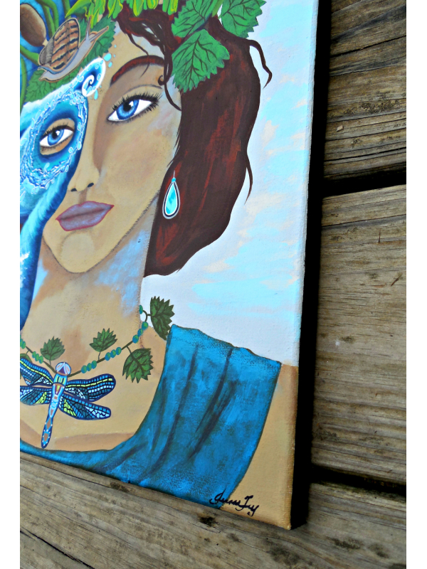 The Riverkeeper Original Painting Goddess of Water with Headdress of Cattails