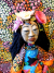 Original Folk Art Doll Mexican Woman Flower Headpiece Cloth and Clay Wall Hanger