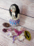 Gourd and Clay Sculpted Art Doll holding Daisies