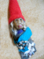 Gnome Art Doll Ornament Felt and Clay Poppet Star Gazer