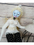 White Butterfly Woman OOAK Beaded Art Doll with Shabby Chic Birdcage