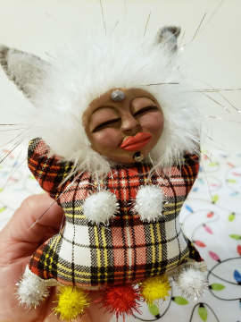 Snow Bunny - Miniature OOAK Spirit Doll - Yule Ornament
