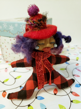 Warm Fire on a Chilly Morning - Miniature Spirit Doll - Yule Christmas Ornament