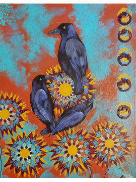 The Power of Three - Crows - Original Canvas Painting
