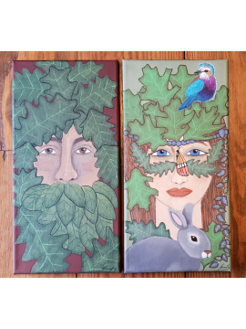 The Goddess and the Greenman - Original Paintings 2 Panel Diptych