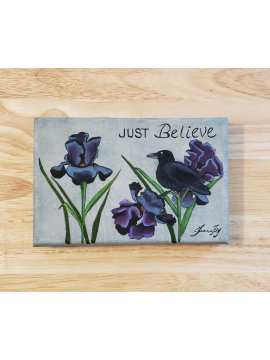 Bearded Iris and Crow- Original Painting titled Just Believe- 4x6