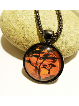 African Landscape Necklace Glass Dome Cabochon Wearable Art on Snake Chain