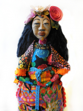 Folk Art Doll Mexican Woman with Flower Headpiece Cloth and Clay Wall Hanger Art